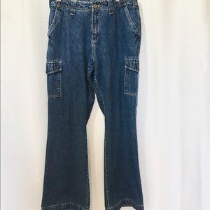 Wide Leg Denim Cargo Jeans 100% Cotton SZ 9